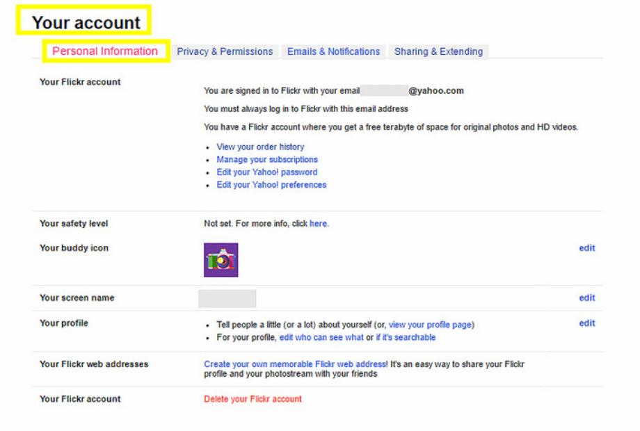 flickrのpersonal information 個人情報 の設定を日本語に翻訳してみた